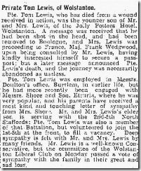 Tom Lewis Clip Sentinel Saturday 12th June 1915