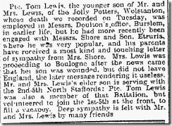 Tom Lewis Sentinel Clip Wednesday 9th June 1915